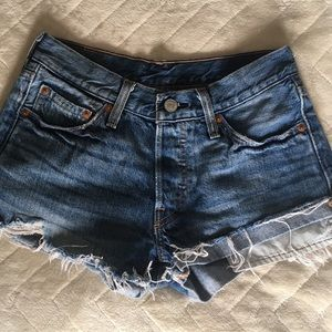Levi's denim  distressed high waisted shorts
